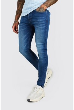 Super Skinny Washed Denim Jean, Mid blue