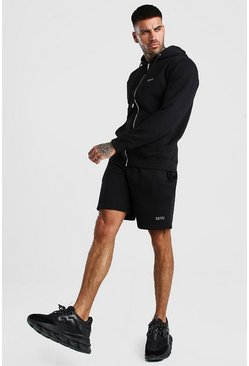 Black Original MAN Zip Through Short Tracksuit