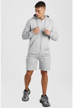Grey marl Original MAN Zip Through Short Tracksuit