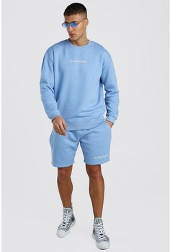 Powder blue MAN Official Short Sweater Tracksuit