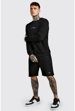 Black MAN Signature Short Sweater Tracksuit