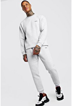 Jogging skinny sweat coupe ample MAN, Gris chiné