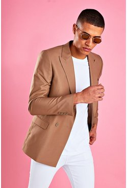 Boxy Double Breasted Blazer, Taupe