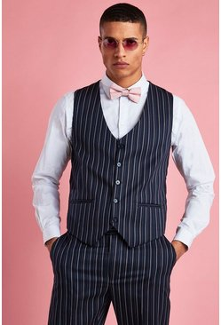 Navy Skinny Fit Stripe Vest