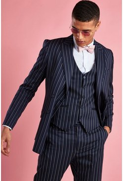 Double Breasted Skinny Fit Stripe Blazer, Navy