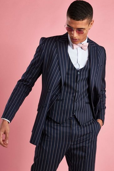 Navy Double Breasted Skinny Fit Stripe Blazer