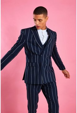 Navy Skinny Double Breasted Stripe Blazer