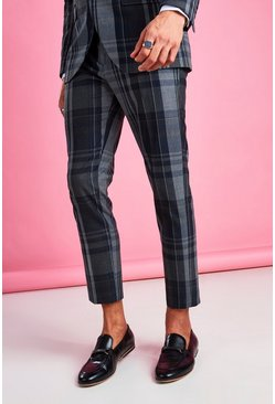 Navy Skinny Fit Smart Check Pants