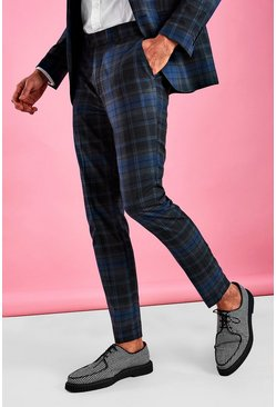 Charcoal Super Skinny Smart Check Pants