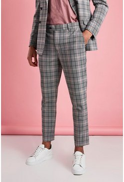Pink Skinny Cropped Smart Check Pants