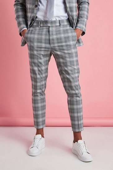 Grey Skinny Cropped Smart Check Trouser