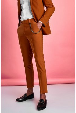 Brown Super Skinny Fit Smart Trouser With Chain