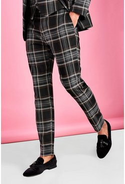 Black Skinny Fit Smart Check Pants