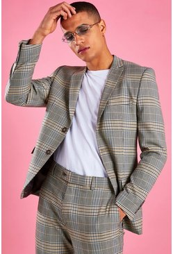 Skinny Check Blazer, Yellow