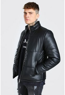 Leather Look Puffer, Black