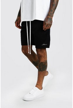 Black MAN Signature Airtex Shorts