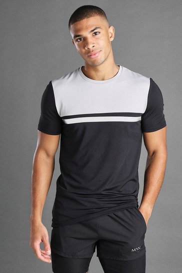 Silver MAN Poly Colour Block T-Shirt with Curved Hem