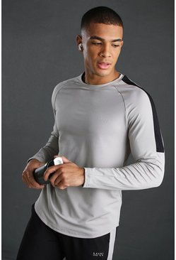 Silver MAN Poly Long Sleeve T-Shirt With Panels