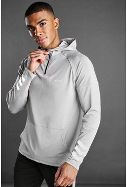 Silver MAN Poly 1/4 Zip Hoodie with Panelled Detail
