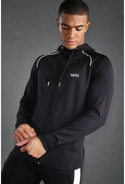 Black MAN Poly Zip Through Hoodie With Panel Detail