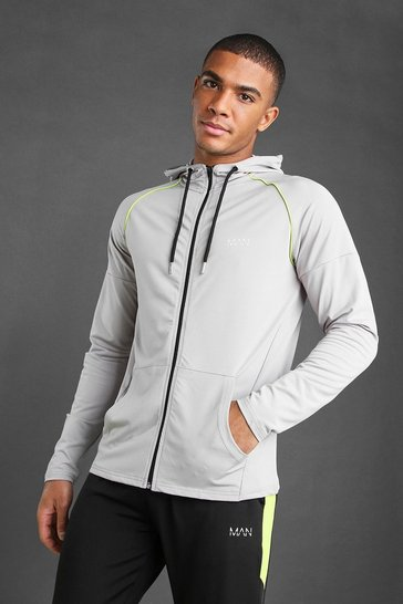 Silver MAN Poly Zip Through Hoodie With Panel Detail