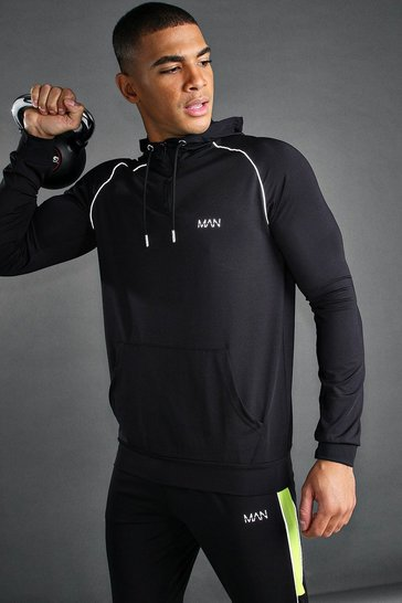 Black MAN Poly 1/4 Zip Hoodie With Piping Detail