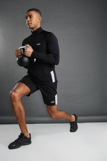 Black MAN Poly 1/4 Zip Funnel Neck Short Set With Panel
