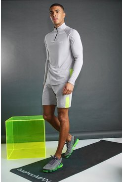 Silver MAN Poly 1/4 Zip Funnel Neck Short Set With Panel