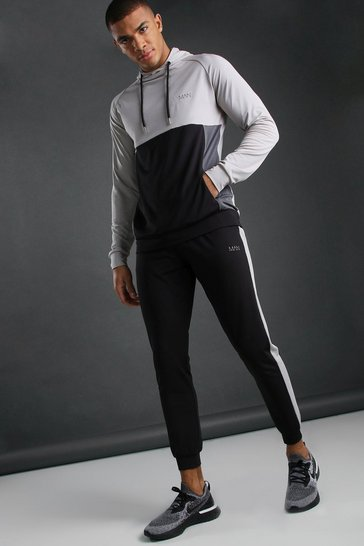 Black MAN Poly Funnel Neck Colour Block Hooded Tracksuit