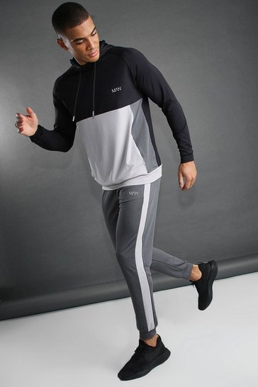 Silver MAN Poly Funnel Colour Block Hooded Tracksuit