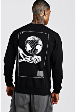 Black Globe Back Print Sweatshirt