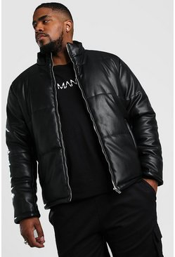 Black Big And Tall Leather Look Puffer