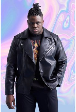 Big And Tall Leather Look Biker Jacket, Black