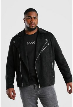 Big And Tall Faux Suede Biker Jacket, Black