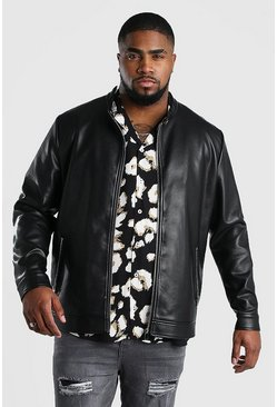 Black Big And Tall Faux Leather Central Zip Biker