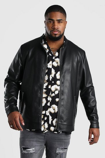 Black Big And Tall Leather Look Central Zip Biker