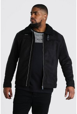 Harrington con cuello de borreguillo de ante sintético Big And Tall, Negro
