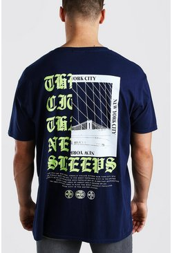 Navy Oversized NYC Front And Back Print T-Shirt