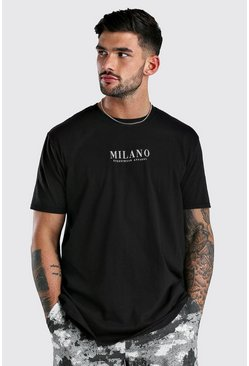 Black Oversized Milano Front & Back Print T-Shirt