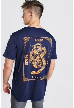 Navy Oversized Oriental Back Print T-Shirt