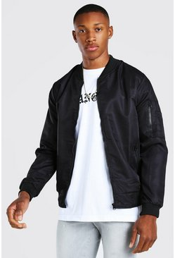 Black MA1 Basic Nylon Bomber