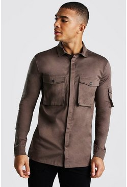 Khaki Muscle Fit Utility Shirt