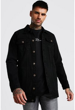 Chaqueta denim larga, Negro