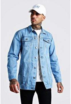 Chaqueta denim larga, Azul medio