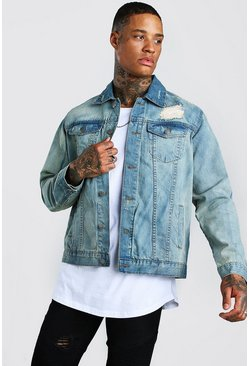 Vintage blue Distressed Denim Jacket