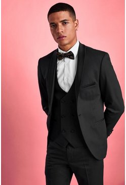 Blazer de smoking coupe skinny, Noir