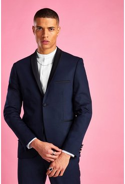 Blazer de smoking coupe skinny, Marine