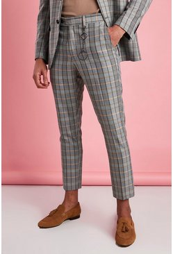 Grey Skinny Check Smart Trouser With Key Chain