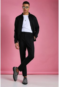 Black Skinny Smart Coach Jacket & Pintuck Pants Set