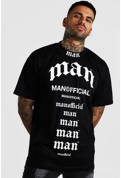 T-shirt coupe ample imprimé MAN multi, Noir
